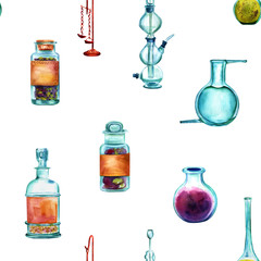 Vintage Science watercolor seamless pattern with chemistry objec