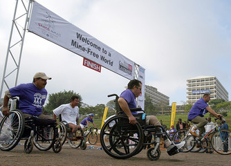 Athletes on their weehchair take part in the charity Mine Free World race in Kenya's capital Nairobi.