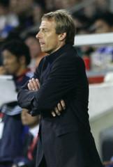 Germany coach Klinsmann reacts during his team's soccer friendly against Japan in Leverkusen