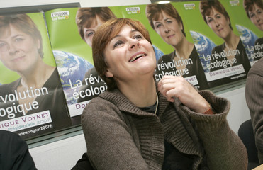 French Green party Presidential candidate Dominique Voynet speaks during a news conference in Nantes