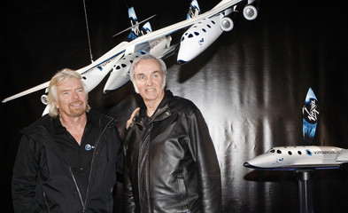 Entrepreneur Branson and aircraft designer Rutan display Virgin Galactic and Scaled Composites' new WhiteKnightTwo and SpaceShipTwo aircrafts in New York