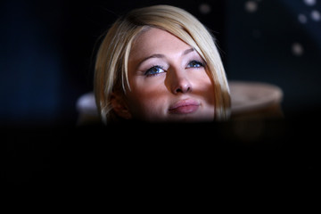 U.S. celebrity Hilton attends a news conference in Berlin