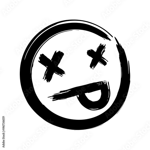 Hand drawn dead emoji ink brush dead emoticon smiley for Emoji ink