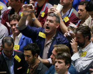 Trading in oil pit at New York Mercantile Exchange.