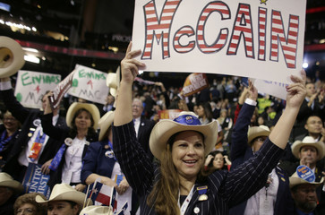 A guest at the Republican National Convention holds up a sign at the 2008 Republican National Convention in St. Paul