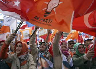 Supporters waving party flags cheer for Turkey's Prime Minister Erdogan during a rally in Ankara