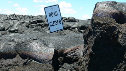 Road closed by lava flow