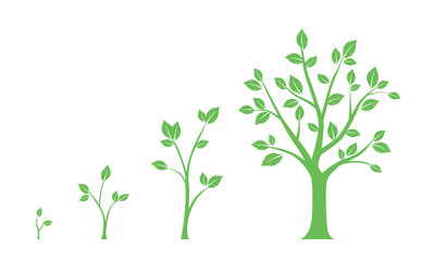Green icons - stages of tree growth on white background