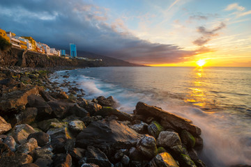 Sunset over the Atlantic coast of Tenerife, Puerto de la Cruz, Punta Brava