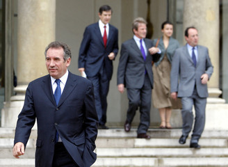 France's Modem party leader Bayrou leaves the Elysee Palace after a meeting with government members in Paris