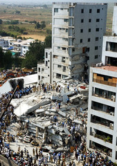 A view of a collapsed building after an earthquake in Islamabad