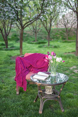 Reading in the spring in garden