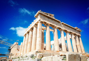 Wall Mural - Parthenon temple over bright blue sky background, Acropolis hill, Athens Greecer, retro toned