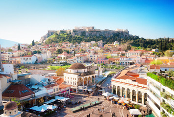 Skyline of Athenth with Moanstiraki square and Acropolis hill, Athens Greecer, retro toned