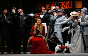 Singer Maya Dashuk performs during dress rehearsal of opera La Boheme in Madrid