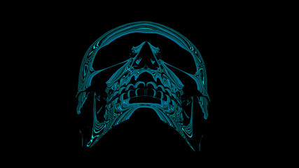 Neon reflection chrome skull
