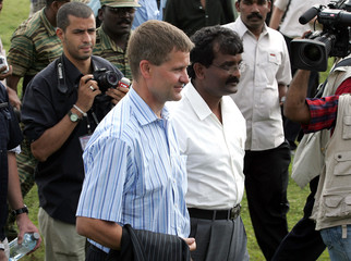 Norwegian Minister of International Development and Special peace envoy Solheim arrives to meet with rebel leaders in Kilinochchi