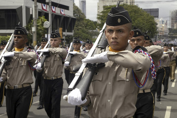 Panamanian policemen march in celebration of Panama's independence from Colombia 105 years ago, in Panama City
