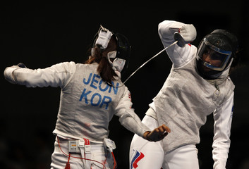 Russia's Shanaeva competes with Korea's Hee Sook in the women's individual foil final fencing event at the World Fencing Championship in Antalya