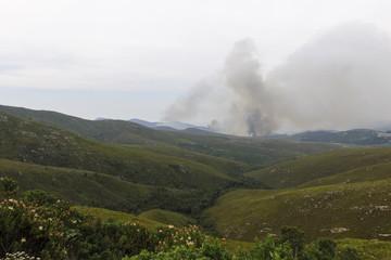 Part of mountain range burning
