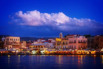 Keuken foto achterwand Havana venetian habour of Chania with Aegan sea at night, Crete, Greecer, retro toned