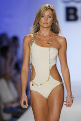 Model shows a swimwear from the collection of Italian designer Miss Bikini during Mercedes-Benz Fashion Week show in Miami Beach