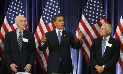 Democratic US presidential candidate Obama meets with generals and other military flag officers in Washington
