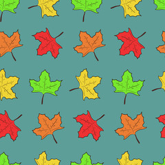 Pattern with cute maple leaves on blue background. Nice nature texture for textile, wrapping paper, wallpaper, cover, surface, design