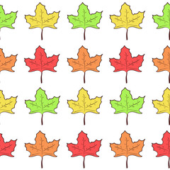 Seamless pattern with rows of cute hand drawn maple leaves, nice nature texture with canadian symbol for textile, wrapping paper, background, cover, surface, design