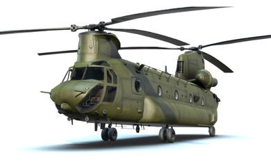 3D render of army helicopter CH-47 Chinook
