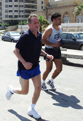 UNITED NATIONS PEACE COORDINATOR FOR THE MIDDLE EAST JOGS IN BEIRUT.