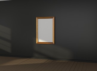 Interior empty room with empty picture frame on dark wall. Mock-up template for display, products, title or logo. Studio or blank office space. 3d illustration