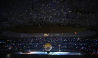 Participants take part in the opening ceremony of the Beijing 2008 Olympic Games at the National Stadium