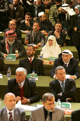 Palestinians attend parliament meeting in Gaza