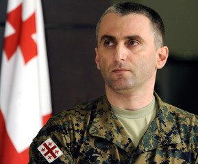 Newly appointed Chief of the Joint Staff, Lieutenant Colonel Vladimer Chachibaia, attends a meeting in the Georgian Defence Ministry in Tbilisi