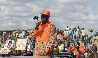 ODM presidential candidate Odinga address party supporters during campaign rally in Dandora