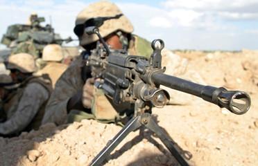 U.S. Marine mans his weapon in Falluja.