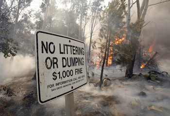 """Smoke is seen around a """"No Littering"""" sign near a burning structure near Del Dios Highway"""