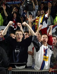LYON SOCCER FANS CHEER AFTER TEAM WON FRENCH PREMIER LEAGUE ON POINTS.