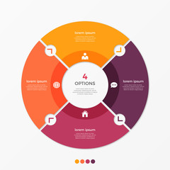 Fototapeta Circle chart infographic template with 4 options. obraz