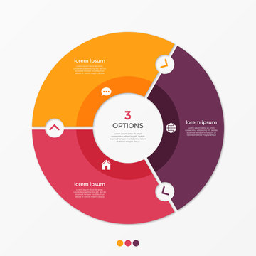 Circle chart infographic template with 3 options.