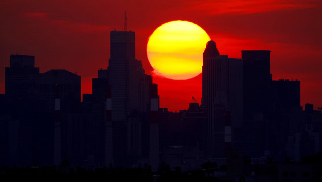 A view of the Sunset over Manhattan from the U.S. Open tennis tournament in New York