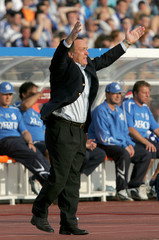 Zenit St Petersburg's new Dutch coach Advocaat gestures during a match against Dynamo Moscow in St Petersburg