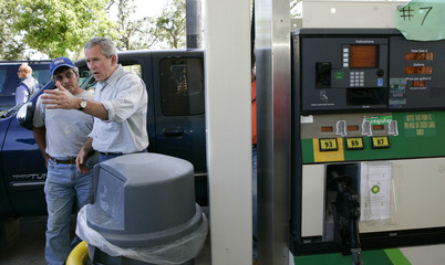 President Bush visits a gas station in Mississippi
