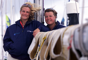 BRITAIN'S FEMALE DOUBLE HANDED RACING TEAM GRAHAM AND BUCHELL RELAXBEFORE THE ROLEX FASTNET RACE FROM COWES.