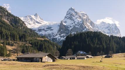 Rosenlaui Schweiz unterhalb der kleinen Scheidegg - Schweiz Tourismus Berglandschaft mit Alphütten