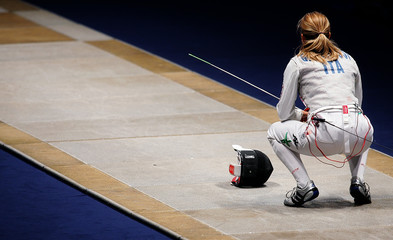 Gambassi of Italy concentrates before her women's fencing individual foil semi-final against her compatriot Trillini at the World Fencing Championship in Turin