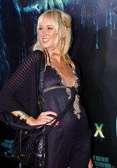 """Model Kimberly Stewart poses at the premiere of the new film """"House of Wax"""" in Los Angeles."""