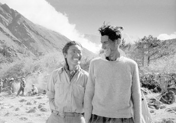 File Photo of Edmund Hillary and Tenzing Norgay smile during an interview after their ascent of Everest in Thyangboche, Nepal