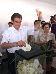 Albanian leader of the opposition Democratic Party Sali Berisha casts his ballot in Tirana in the se..